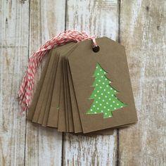 diy Christmas tags - Kraft Green Polka Dot Christmas Tree Gift Tags, Set of 10 - Favor Tags Diy Christmas Tags, Christmas Tree With Gifts, Christmas Gift Wrapping, Christmas Paper, Christmas Christmas, Handmade Christmas, Christmas Stockings, Handmade Gift Tags, Diy Gift Tags