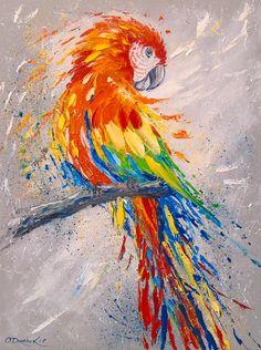 Parrot by Olha Darchuk Bird Painting Acrylic, Parrot Painting, Lion Painting, Acrylic Art, Painting & Drawing, Watercolor Art, Diy Canvas Art, Animal Paintings, Bird Paintings On Canvas