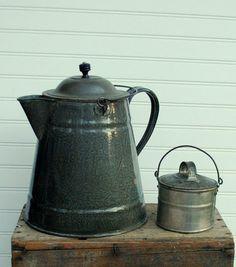 Great Primitive Graniteware Coffeepot!