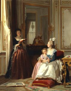 Madame de Lamballe reading to Marie Antoinette and her daughter, Marie Thérèse Charlotte by Joseph Carauad, 1858