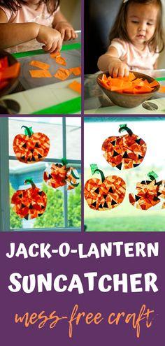 Jack-O-Lantern Suncatcher Mess-Free Craft for Kids