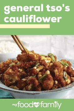 "General Tso's Cauliflower - You'll have this 30 minute Asian-style recipe made faster than you can say ""takeout""! This Healthy Living dish keeps the heat and the flavor with a veggie twist on a fast food favorite. Cooking Tips and Suggestions Whole Food Recipes, Diet Recipes, Vegetarian Recipes, Cooking Recipes, Healthy Recipes, Soup Recipes, Recipies, Healthy Dishes, Family Recipes"