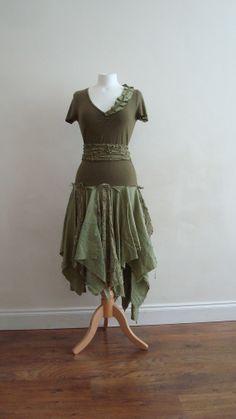 Upcycled Woman's Clothing Tribal Woodland  Eco Style by EkoLuka, $170.00
