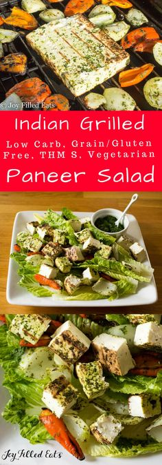 Grilled Paneer Salad - Low Carb, Grain Free, THM S, Vegetarian - Paneer cheese, sweet peppers, & onions coated with a cilantro-mint chutney & grilled to perfection. My Grilled Paneer Salad is a great warm weather dish.     via @joyfilledeats