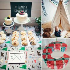 A Modern Camp-Inspired First Birthday Party - trail mix in mason jar for gifts, table setting