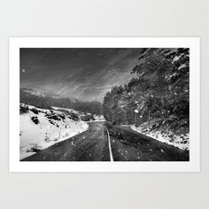 Beautiful:The white line of the road Art Print by Guido Montañés