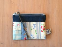 Small patchwork fabric purse, earbud pouch, coin purse, make up bag, blue and denim Patchwork Fabric, Denim Fabric, Fabric Purses, Recycled Denim, Blue Bags, Pouches, Bag Making, Great Gifts, Coins