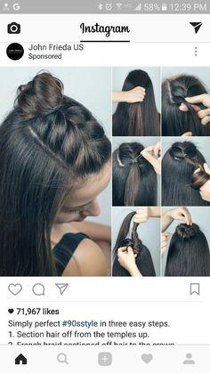 Half up braid top-knot Medium Hair Styles, Curly Hair Styles, Hair Medium, Braided Top Knots, Knot Braid, Fishtail Braids, Easy Hair Braids, Cornrows Ponytail, French Braided Bangs