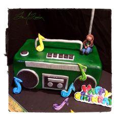 Boom box birthday cake