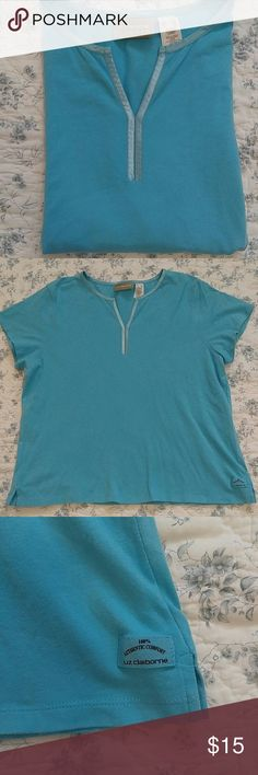 Turquoise Liz Claiborne tee Turquoise blue tee with satin v neck detail. Short sleeve and size XXL. By Liz Claiborne. Like new condition Liz Claiborne Tops Tees - Short Sleeve