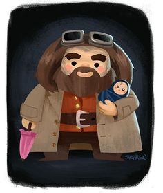 regram @stephlewart Hagrid and baby Harry #stephlew #photoshop #dailydoodle #artoftheday #fanart