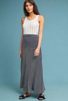 16f13d0e3bd NWT Anthropologie Sunday in Brooklyn Lonnie Striped Maxi Skirt Sz L Navy  Blue  fashion