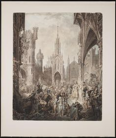 Entry of Frederick into the Castle of Otranto (1790). John Carter (1748-1817), watercolor on laid paper