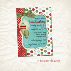 ornament exchange party invitation print yourself by persnickitude, $12.00
