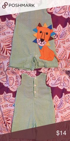 Cre8ions boutique lion shortall Green white gingham with lion. Excellent condition cre8ions One Pieces
