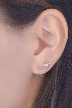 Starburst Stud Earrings, Sterling Silver & Gold Plated, White Topaz, Star Compass Minimalist Earrings, Modern Jewelry, Hand Made, ST049WT