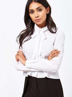 Pussybow Poplin Shirt - Workwear - Clothing - Miss Selfridge