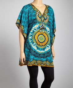 Love this Blue Paisley V-Neck Tunic - Plus on #zulily! #zulilyfinds