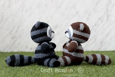 Sewing Stuffed Animals free stuffed animal toy sewing pattern and tutorial, sewn from socks. Raccoon Stuffed Animal, Sewing Stuffed Animals, Stuffed Toys Patterns, Felt Doll Patterns, Sewing Patterns Free, Free Sewing, Monkey Pattern, Sock Crafts, Sock Toys