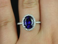 Chantelle 14kt White Gold Thin Oval Blue Sapphire and Diamond Halo Engagement Ring (Other metals and stone options available)