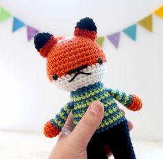 arnold .. stuffed plushie toy fox boy doll crochet by rosieok, $35.00