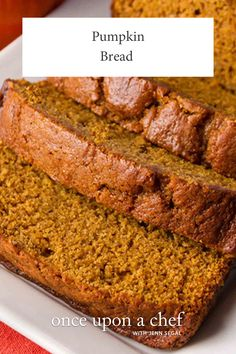 Pumpkin Bread - Once Upon a Chef Pumpkin Bread - Once Upon a Chef Pumpkin Bread Best pumpkin bread recipe I have ever tried!<br> TESTED & PERFECTED RECIPE - Kids love it, grown-ups love it.this pumpkin bread is hard to beat! Best Pumpkin Bread Recipe, Pumpkin Recipes, Fall Recipes, Holiday Recipes, Pumkin Bread, Healthy Pumpkin Bread, Pumpkin Loaf, Pumpkin Chocolate Chip Bread, Cheese Pumpkin