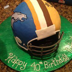 Broncos football helmet cake