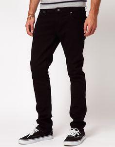 €155, Schwarze Jeans von Nudie Jeans. Online-Shop: Asos. Klicken Sie hier für mehr Informationen: https://lookastic.com/men/shop_items/287512/redirect