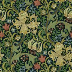 """Tapet William Morris """"Golden Lily"""" från 1899 Färg Indigo Längd 10,05m/ rulle Bredd 52 cm Mönsterupprepning 46 cm"""
