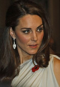 Catherine, Duchess of Cambridge looks glamorous in her Grecian style dress, coupled with the all important poppy as she attends the National Memorial Arboretum Appeal at St. James's Palace, November 10, 2011.