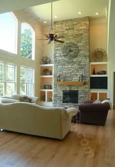 White brick fireplace, simple styling | Family & Living Rooms ...