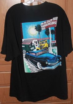 In n Out Hamburgers California T Shirt Old Cars Size XXL Black #InNOut #GraphicTee