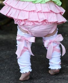 RuffleButts Ballet Bow LegWarmers | These leg warmers are as girly as it gets and adorably unique, featuring an attached satin ribbon bow. Perfect for the transition from ballet class to playing at home, they are sure to be a favorite! (From: RuffleButts.com - $10.00)