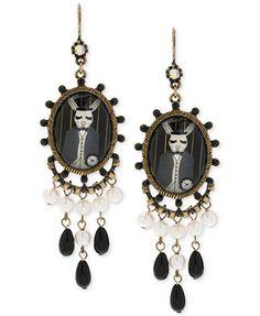 Betsey Johnson Brass-Tone Rabbit Chandelier Earrings