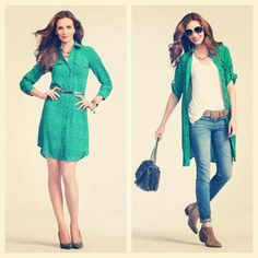 Versatile and stylish. The Emerald Shirt Dress is one of 3 dresses in the Spring 2013 Collection.