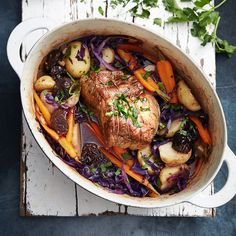 Pork pot roast with cabbage and prunes | Healthy Recipe | Weight Watchers AU