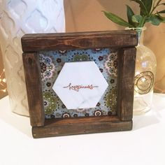 Marble Happiness Sign in Walnut-Stained Farmhouse Frame. Free Shipping!