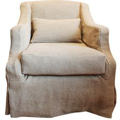 French Linen Slipcovered Swivel Armchair