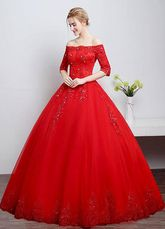 Renda vestidos de casamento fora do ombro laço a linha marfim manga meia lantejoulas chão comprimento vestido de noiva-No.5