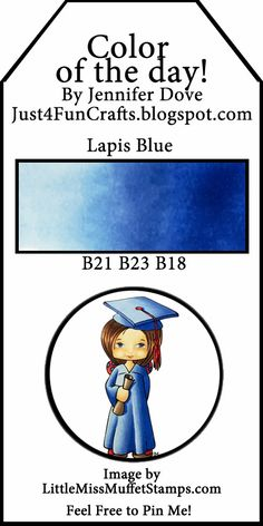 Copic Color of the Day 142 Lapis Blue Just4FunCrafts and DoveArt Studios