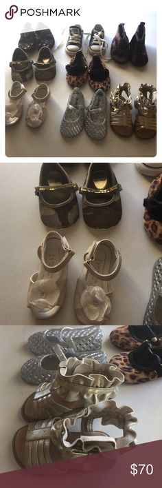 💟New Listing💟 Huge Bundle Girls Shoes Huge Bundle of girls shoes. 8 pairs total. All are in excellent condition. Included: Monsoon size 3 Flower Sandals. Stuart Weizmann glitter flats size 3. Pediped flats size 12-18 months. Old Navy Jelly Sandals sz 3. Stuart Weitzman cheetah with bow sz 3. Converse sz 3. Cotton on sz 3 boots. Wonder kids gold bow sandals sz 3. mixed lot Shoes