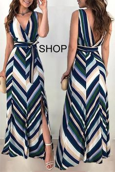 Chevron Stripes Backless Belted Slit Maxi Dress Chevron Stripes Backless Belted Slit Maxi DressDo Not Delay ! Hot Vintage Plus Size Tankini Set Swimwear Women Sexy Push Up Dot Print Large Size Swim. Maxi Dress With Slit, Dress Skirt, Stripe Maxi Dresses, Casual Maxi Dresses, Mode Kimono, Summer Work Outfits, Mode Vintage, Spring Dresses, Curvy Fashion