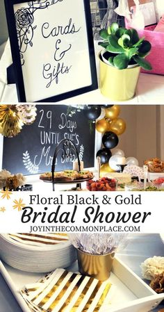 Black   gold bridal shower decorations   ideas! Discover simple yet elegant  flower accents bc7910e1efe5