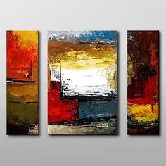 pintados à mão pintura a óleo abstrata moderna, com esticada conjunto de quadros, de 3 de – EUR € 93.07