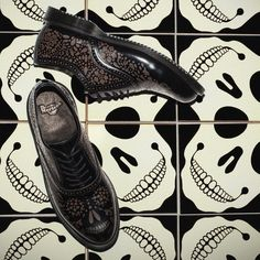 Dr. Martens ALIA Brogue, with an intricate skull etched design. New for AW15.