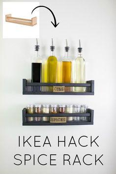 Ikea Bekvam hack! DIY industrial farmhouse spice rack tutorial. Perfect affordable idea for a modern farmhouse pantry.