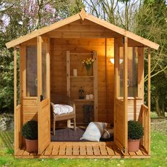 Stylish, functional wooden summerhouse with integral veranda. Ideal for outdoor living Log Cabin Sheds, Log Cabins, Garden Furniture, Furniture Design, Sheds For Sale, Relaxing Places, Forest Garden, Garden Buildings, Logs