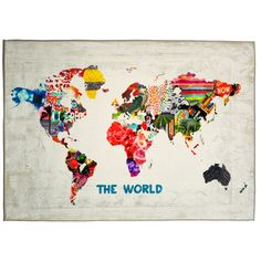 "Brayden Studio Hipster Mapa Mundi Graphic Art on Wrapped Canvas Size: 15"" H x 10"" W x 1.5"" D #homedecorhipster"