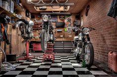 garage motorcycle Sh*t Getting Done Motorcycle Workshop, Motorcycle Shop, Motorcycle Garage, Motorcycle Touring, Cafe Racing, Old Garage, Garage Tools, Garage Workshop, Workshop Ideas