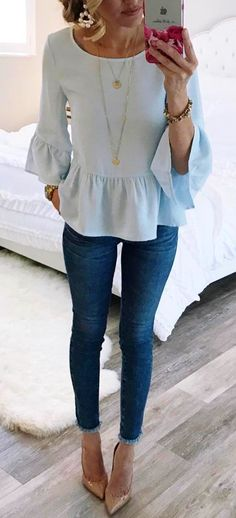 #summer #outfits  Blue Ruffle Top   Skinny Jeans